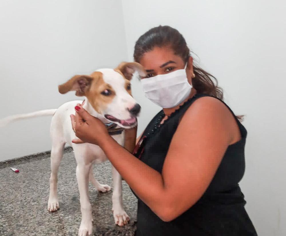 Polícia Civil adotou o cãozinho que recebeu o nome de Bob.